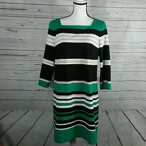 White House Black Market stripe dress size 14